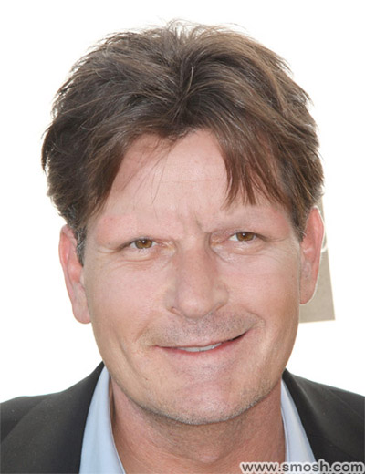 Charlie Sheen without eyebrows